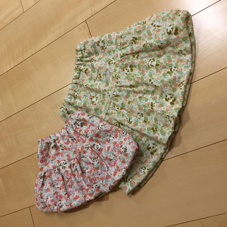mishmashティアードバルーンスカートを花柄パンダのダブルガーゼで作りました。
